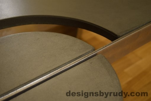 Gray Concrete Coffee Table, Polished Steel Frame, concrete leg and frame joint no flash, Designs by Rudy
