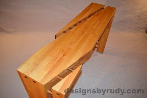 Butchered butcher block console table top section view with flash Designs by Rudy