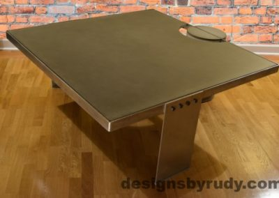 Gray Concrete Coffee Table, Polished Steel Frame, side corner view no flash, Designs by Rudy