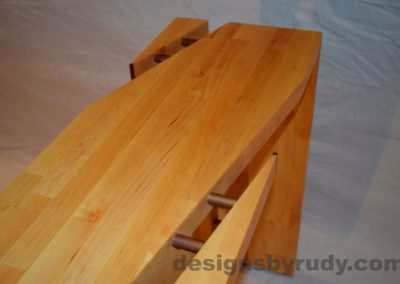 Butchered butcher block console table - partial top section view with flash Designs by Rudy