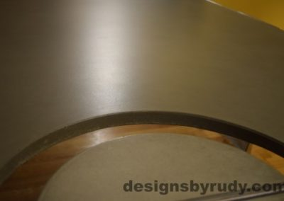Gray Concrete Coffee Table, Polished Steel Frame, concrete leg and top cutout, no flash, Designs by Rudy