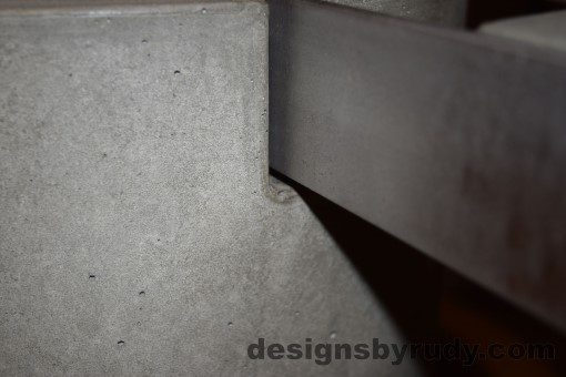 Gray Concrete Coffee Table, Polished Steel Frame, concrete leg and frame joint closeup 2, Designs by Rudy