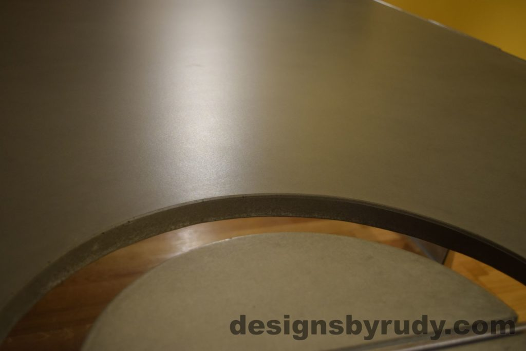 Gray Concrete Coffee Table, Polished Steel Frame, concrete leg and top cutout, no flash