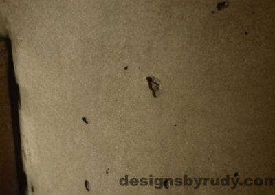 Gray Concrete Coffee Table, Polished Steel Frame, concrete leg closeup no flash, Designs by Rudy