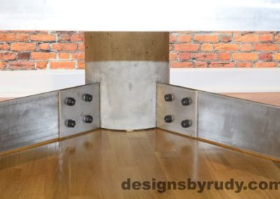 Gray Concrete Coffee Table, Polished Steel Frame, supporting leg joints closeup view 2 with flash, Designs by Rudy