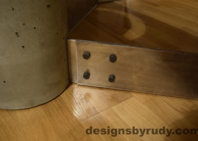 Gray Concrete Coffee Table, Polished Steel Frame, steel leg and concrete leg joint 2