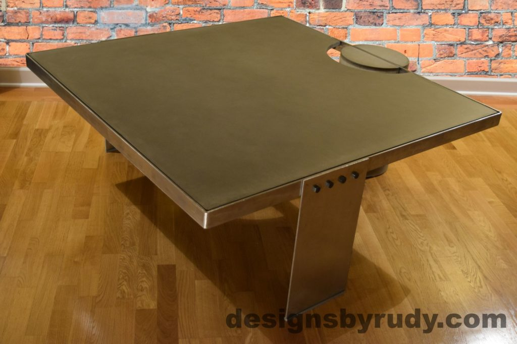 Gray Concrete Coffee Table, Polished Steel Frame, side corner view no flash