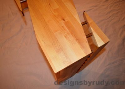 Butchered butcher block console table - skewed corner view from top with flash Designs by Rudy