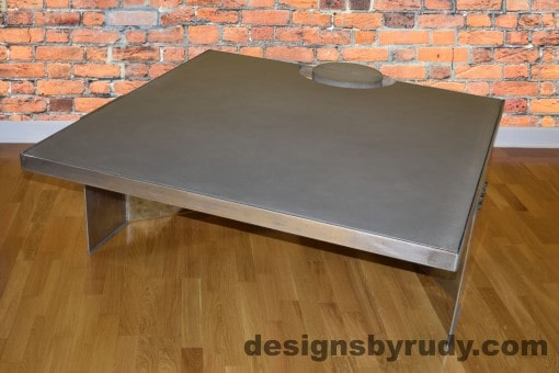 Gray Concrete Coffee Table, Polished Steel Frame, front side other corner view with flash, Designs by Rudy