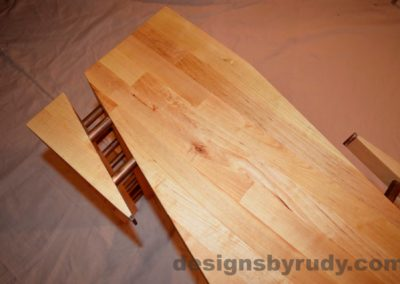 Butchered butcher block console table - skewed corner view 2 from top with flash Designs by Rudy