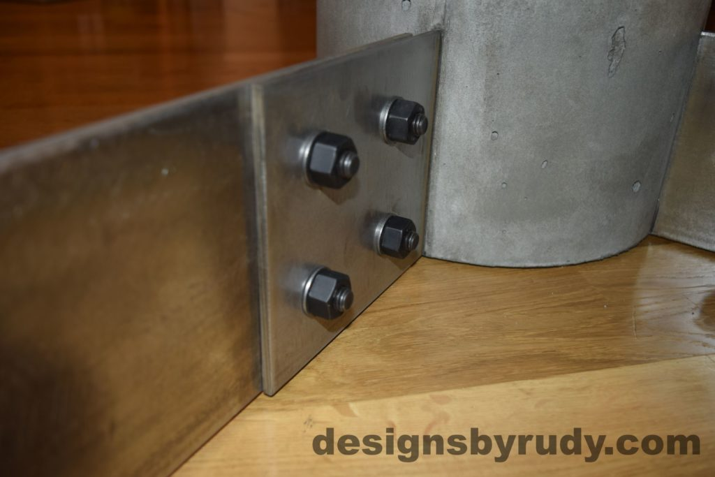 Gray Concrete Coffee Table, Polished Steel Frame, steel leg and concrete leg joint
