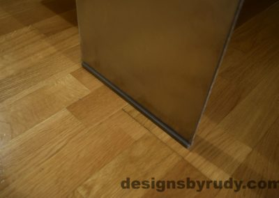 Gray Concrete Coffee Table, Polished Steel Frame, steel leg floor guard