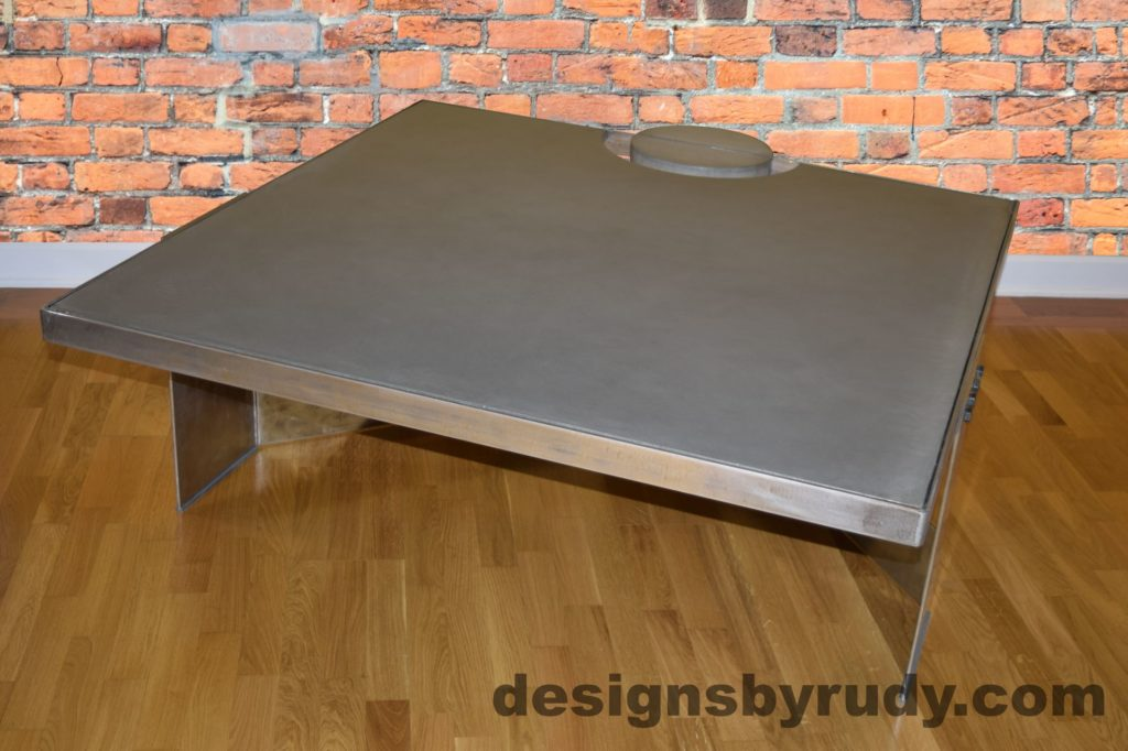 Gray Concrete Coffee Table, Polished Steel Frame, front side other corner view with flash