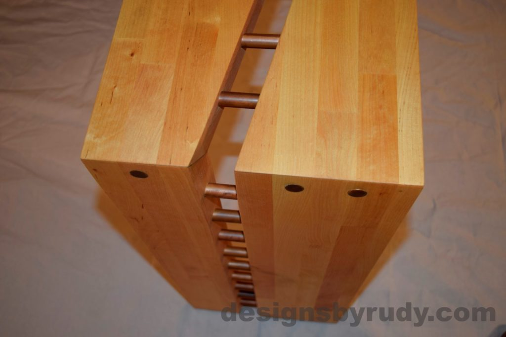 Butchered butcher block console table - corner view from top - with flash Designs by Rudy