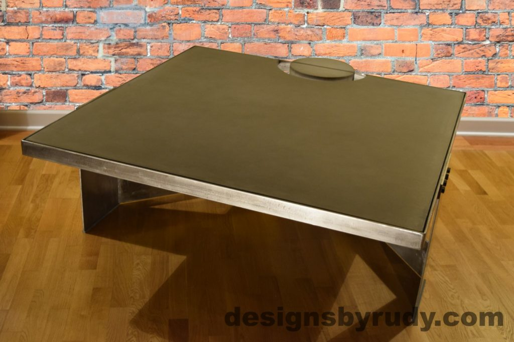 Gray Concrete Coffee Table, Polished Steel Frame, front side other corner view no flash