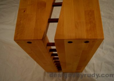 Butchered butcher block console table - corner view from top - no flash Designs by Rudy