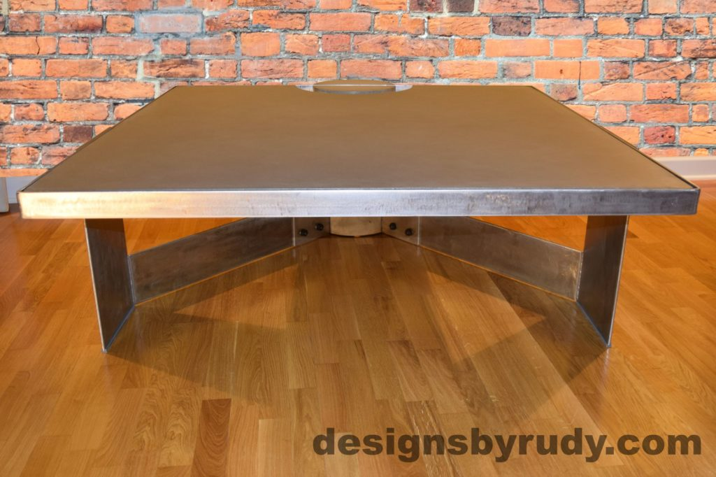 Gray Concrete Coffee Table, Polished Steel Frame, front view no flash