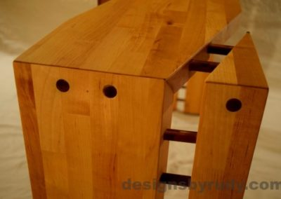 Butcher block console table long angle view closeup no flash Designs by Rudy