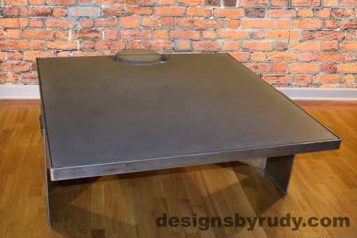 Gray Concrete Coffee Table, Polished Steel Frame, front side corner with flash, Designs by Rudy