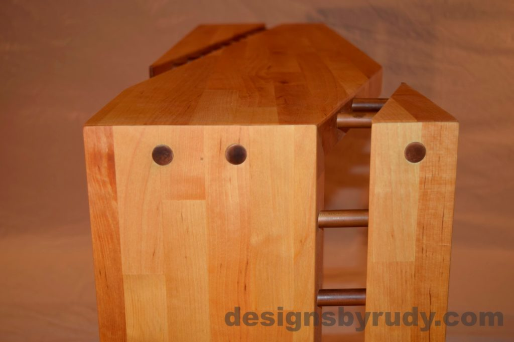 Butchered butcher block console table long view with flash Designs by Rudy for sale