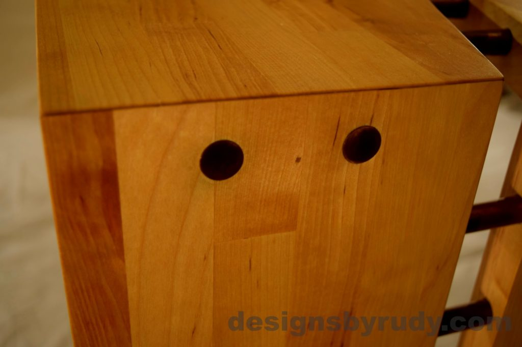 Butchered butcher block console table copper caps detail view Designs by Rudy no flash