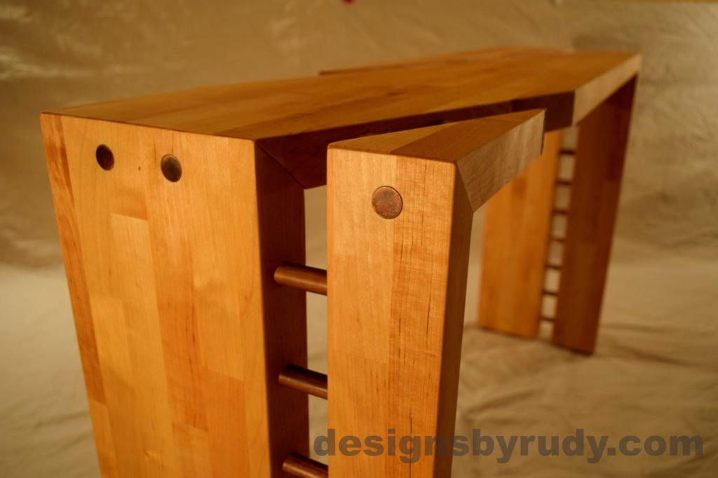 Butcher block console table long angle view no flash Designs by Rudy