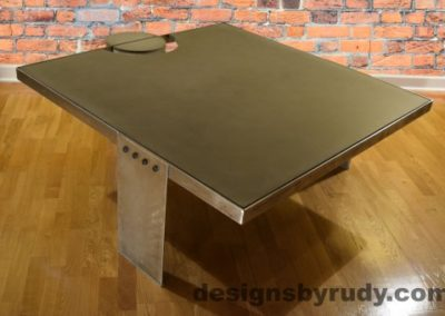 Gray Concrete Coffee Table, Polished Steel Frame, other side corner view no flash, Designs by Rudy