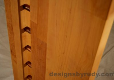 Butchered butcher block console table leg closeup no flash Designs by Rudy