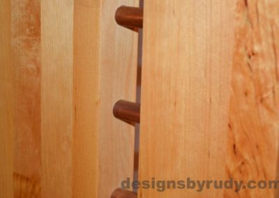 Butchered butcher block console table leg closeup with flash Designs by Rudy