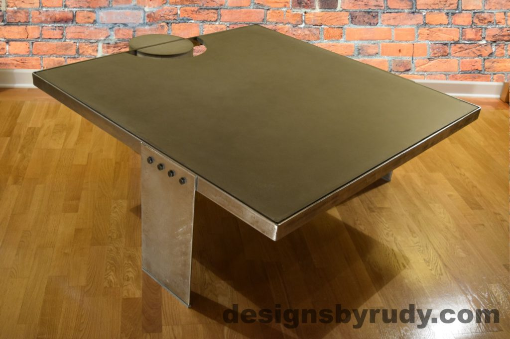 Gray Concrete Coffee Table, Polished Steel Frame, other side corner view no flash