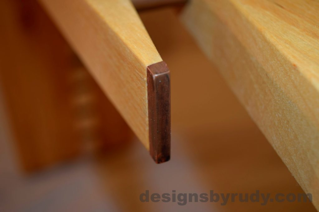 Butchered butcher block console table - copper detail 2 with flash Designs by Rudy