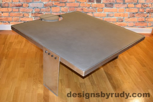 Gray Concrete Coffee Table, Polished Steel Frame, other side corner view with flash, Designs by Rudy