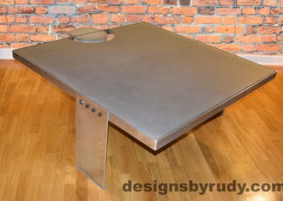 Gray Concrete Coffee Table, Polished Steel Frame, other side corner view with flash