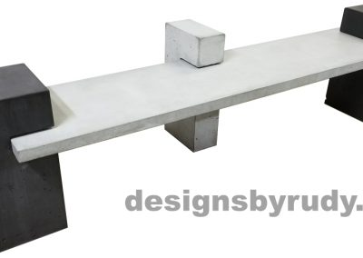 DR CB1 concrete bench on 3 pedestals by Designs by Rudy, left angle, gray slab and small pedestal, charcoal large pedestals