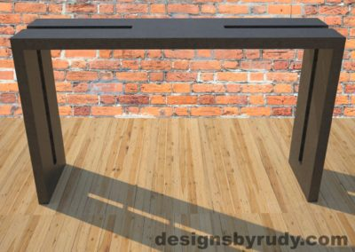 0 Double Split Charcoal Concrete Console Table with steel accents full front view Designs by Rudy