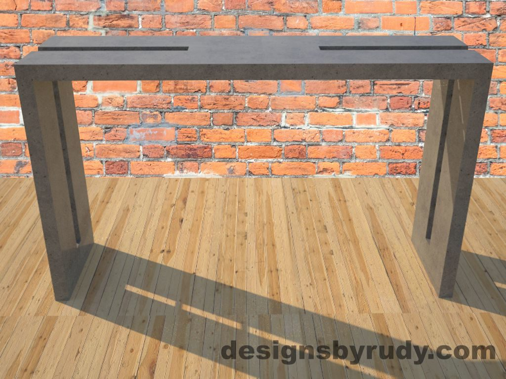 0 Double Split Gray Concrete Console Table with steel accents full front view Designs by Rudy