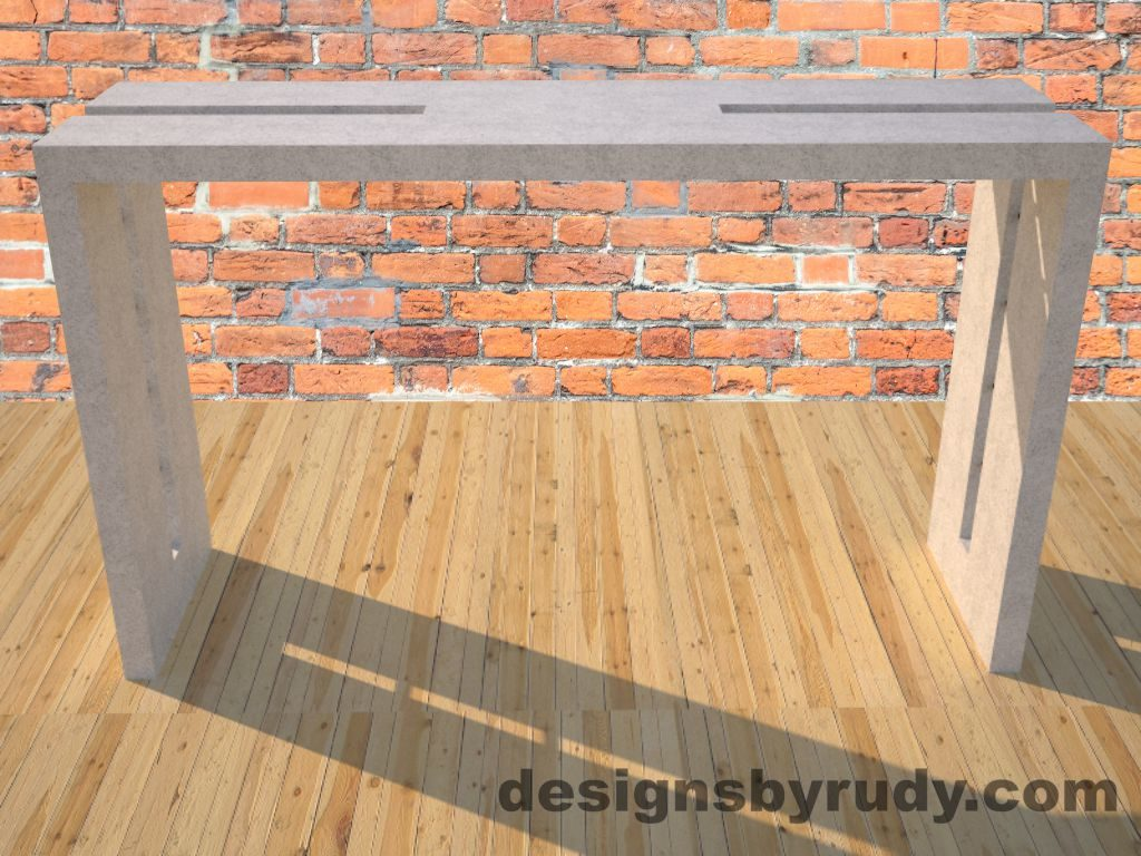 0 Double Split White Concrete Console Table with steel accents full front view Designs by Rudy