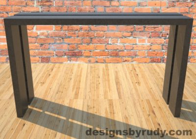 0 Full Split Charcoal Concrete Console Table with metal accents full front view Designs by Rudy