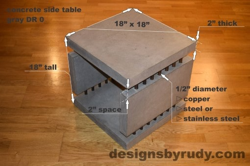 0 Gray Concrete Side Table DR0 dimensions, Designs by Rudy