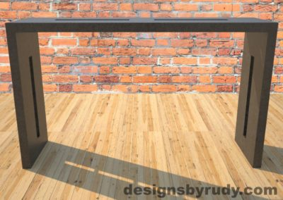 0 Quad Split Charcoal Concrete Console Table with stainless steel accents full front view Designs by Rudy