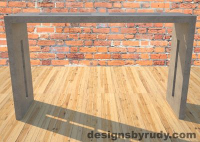 0 Quad Split Gray Concrete Console Table with stainless steel accents full front view Designs by Rudy