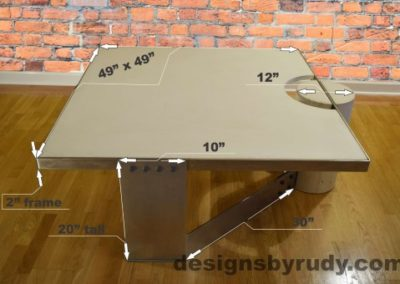0 White Concrete Coffee Table, Polished Steel Frame, dimensions, Designs by Rudy