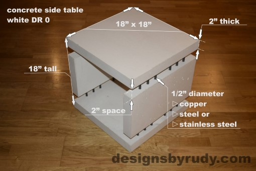 0 White Concrete Side Table DR0 dimensions, Designs by Rudy