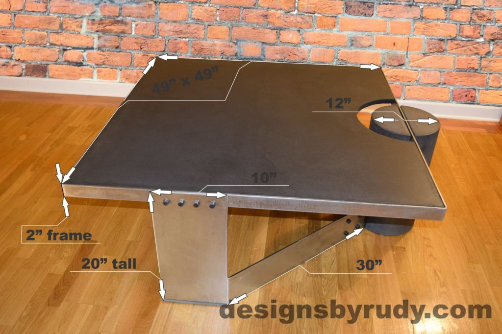 Black Concrete Coffee Table, Polished Steel Frame, dimensions, Designs by Rudy