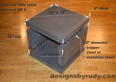 0L Charcoal Concrete Side Table DR0 dimensions, Designs by Rudy