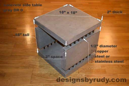 0L Gray Concrete Side Table DR0 dimensions, Designs by Rudy