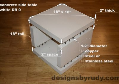 0L White Concrete Side Table DR0 dimensions, Designs by Rudy