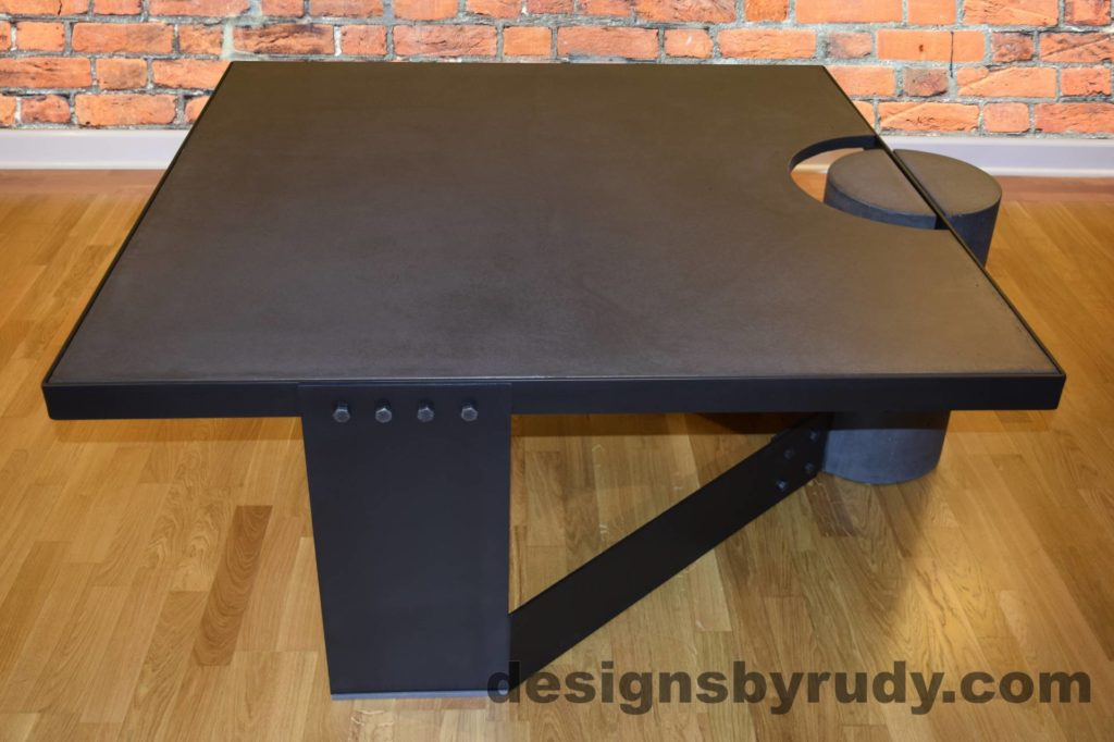 Black Concrete Coffee Table, Black Steel Frame, full side view, Designs by Rudy