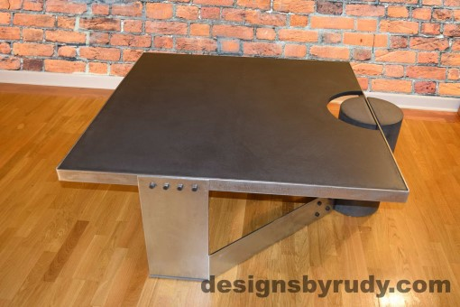 Charcoal Concrete Coffee Table, Polished Steel Frame, side view, Designs by Rudy