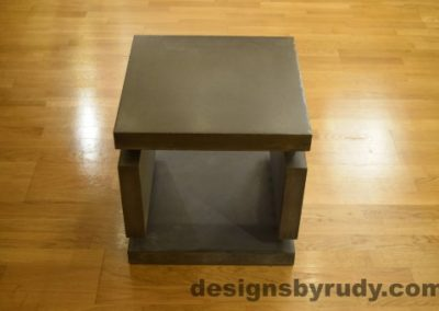 1 Charcoal Concrete Side Table DR0 front view, no flash, Designs by Rudy
